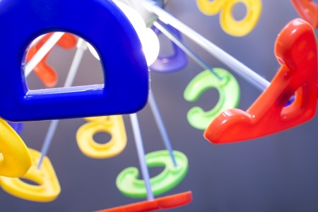 educaton: original chandelier in the form of colorful alphabet letters
