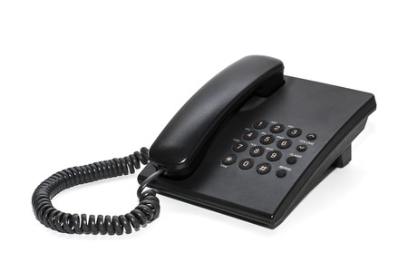 ip: Black office IP Phone isolated on white background Stock Photo