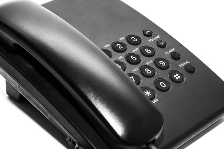 mobile voip: Black office IP Phone isolated on white background Stock Photo