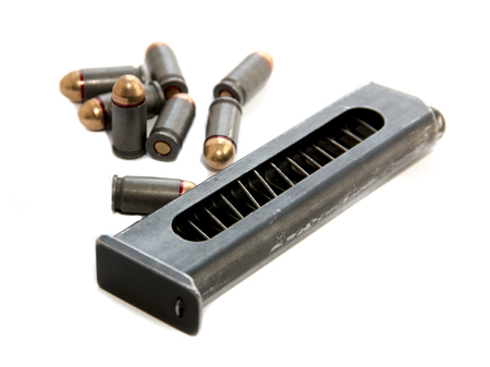 m16 ammo: Gun magazin or cartridge with bullets isolated on white background Stock Photo