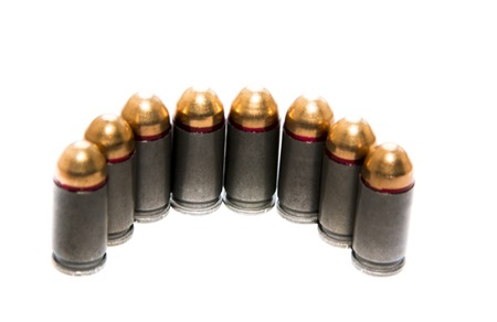 rounds: Gun magazin or cartridge with bullets isolated on white background Stock Photo