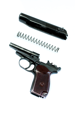 gunfire: makarov system pistol disassembled isolated on white background