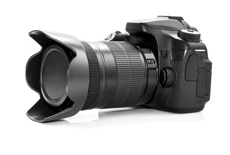 dslr: DSLR camera isolated on a white background. Stock Photo
