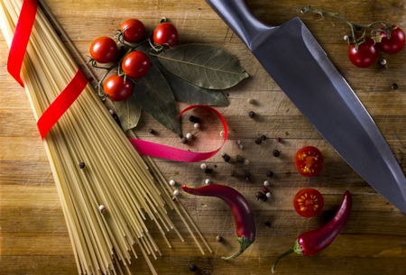 Food before cooking, on a cutting board chef in an Italian restaurant Stock Photo