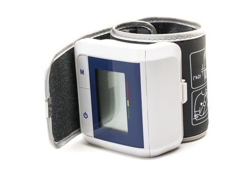 tonometer: tonometer, a device for measuring blood pressure on white background