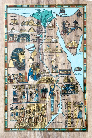 ancient papyrus: stylized map of ancient Egypt for tourists in the ancient papyrus Stock Photo