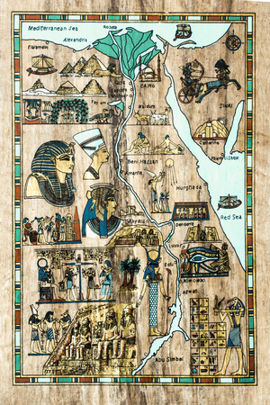 stylized map of ancient Egypt for tourists in the ancient papyrus Stock Photo