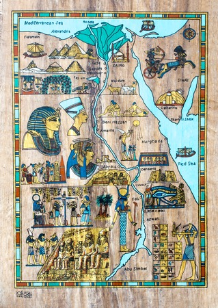 scribes: stylized map of ancient Egypt for tourists in the papyrus Stock Photo