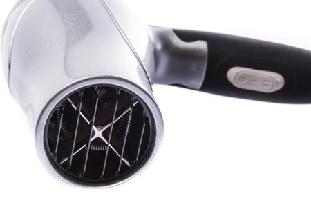 black appliances: Hair dryer isolated on white Stock Photo
