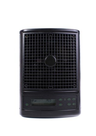 Mobile room air purifier ionizer in black on a white background