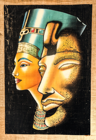Egyptian papyrus, the face of Nefertiti and Tutankhamun, the texture of papyrus Stock Photo