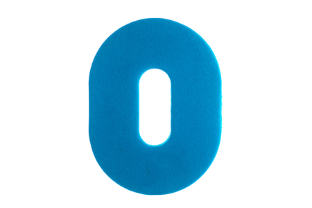 digit zero from the texture material of blue color on a white background