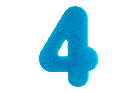 digit four of a textured blue color on a white background