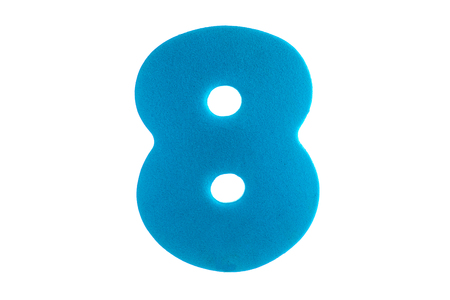 digit eight of the textured blue material on a white background