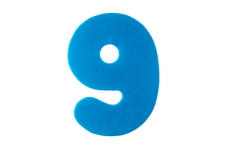 figure nine of a textured blue color on a white background
