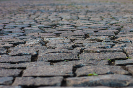 alley in the Park paved with granite stones. stone blocks