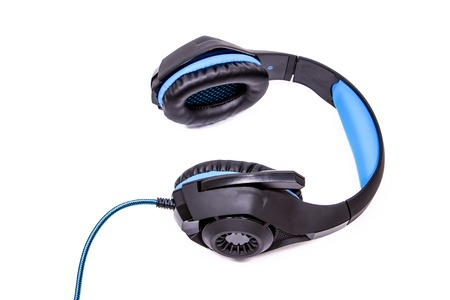 headphones for computer in a modern style black and blue with a microphone on a white background