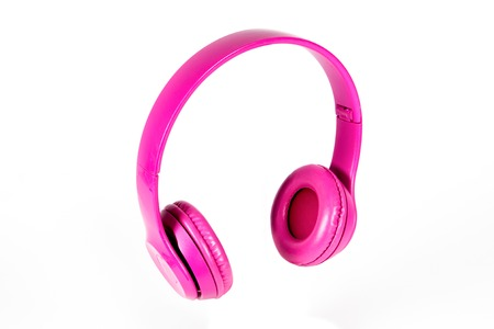 modern pink Bluetooth headphones on white background