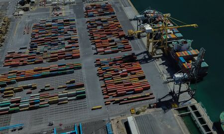 cargo port of Adelaide, Australia on the Gulf of St. Vincent Stock Photo