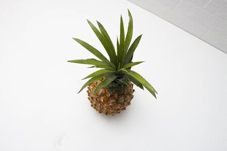 ripe pineapple on a white background wall with shadow top view