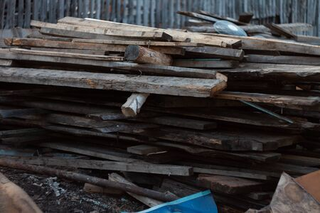 Warehouse of old boards in the village Stok Fotoğraf