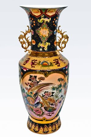 The big Chinese vase with handles and enamel figure of colors and birds photo