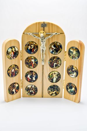 collapsible: Wooden collapsible icon from Jerusalem with the crucifixion and the image of a God way