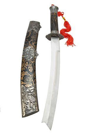 tsuka: Open Japanese short sword isolated on white background