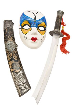 tsuka: Open Japanese short sword isolated on white background with mask