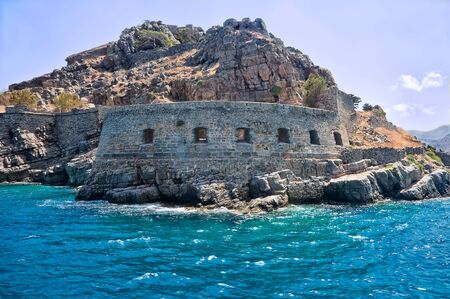 bastion: Bastion of an ancient Byzantian citadel on the Grecian island Stock Photo