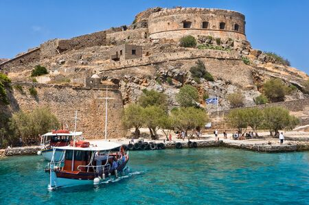 grecian: Landing stage of an ancient Byzantian stability on the Grecian island  Stock Photo