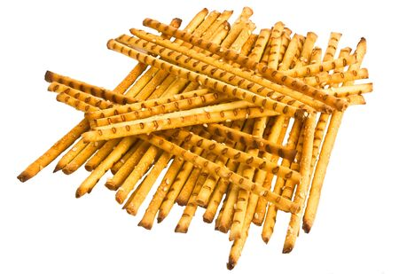 Stack of original cookies in the form of rods isolated on a white background Stock Photo - 5432965