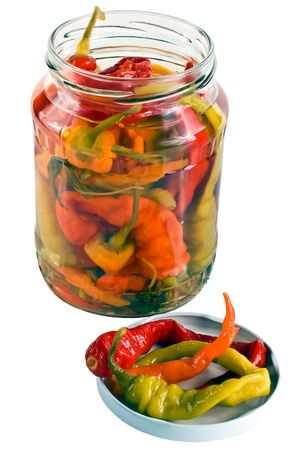 shrunken: Pepper chile in bank isolated on the white