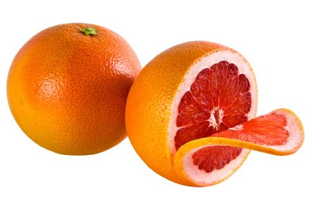 halved  half: Two grapefruits isolated on a white background