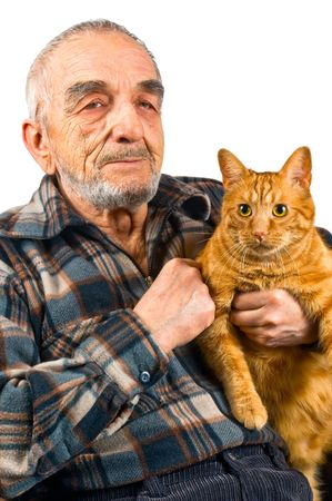 The elderly man with a cat photo