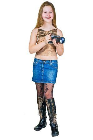 L'adolescent avec une caméra isolée sur fond blanc Banque d'images - 6959673