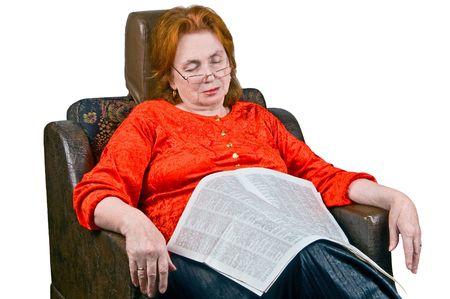 snugly: Elderly lady sleeping in an armchair Stock Photo