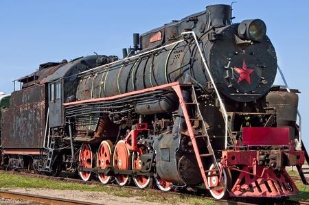 communistic: Muy vieja locomotora de vapor de Rusia comunista