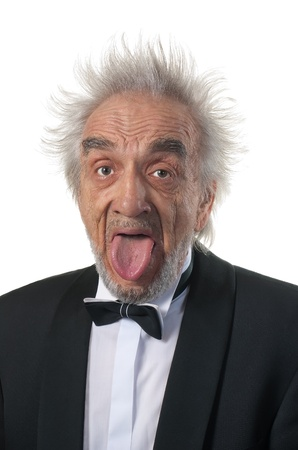 parody: The elderly man in a suit putting out the tongue the parody to Einstein