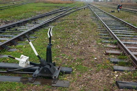 shunt: The fork of the railway and traffic lights with shunt