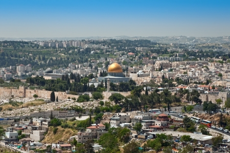 View of Jerusalem and the Dome of the Rock from the top photo