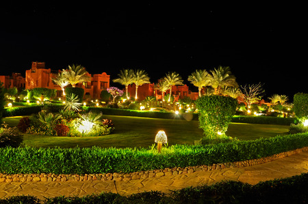 Night view of the beautiful hotel in Egypt