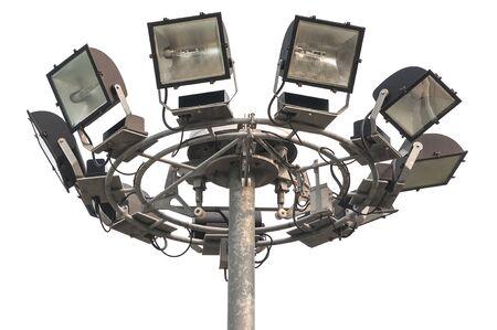 halogen lighting: Lighting Halogen spotlight assembled on a circle isolated on white
