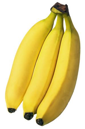 banane: trois banane m�re naturel isol� sur fond blanc Banque d'images