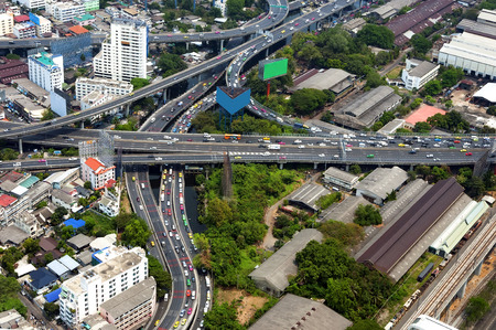 highway traffic: City road junction view from the top