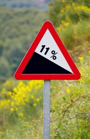 steep: road sign steep