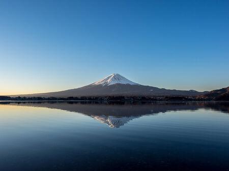 kawaguchi: Mountian fuji reflects in lake kawaguchi Stock Photo
