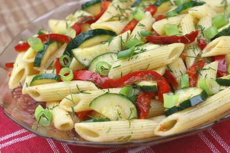 Pasta with paprika and zucchini