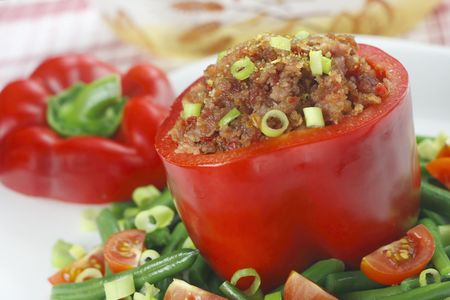 Paprika stuffed with the minced meat photo