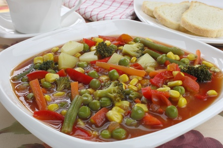 Diet soup with fresh vegetables photo